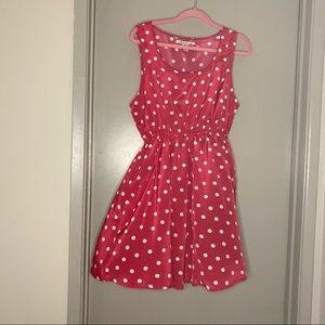 American Rag  PINK polkadot dress w/pockets XL